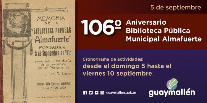 106 aniversario Biblioteca Almafuerte (placa)